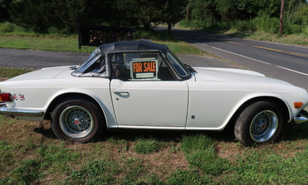 Side of the Road 11 & NEW! Award: 1974 Triumph TR6 Original Owner – $13,900