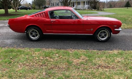 "Rangoon Red:  1965 Ford Mustang Fastback ""C"" Code 4-Speed – $38,500"