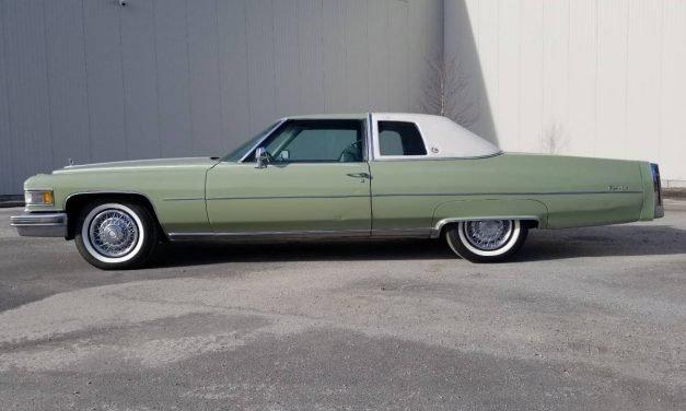 Green Gas Guzzler: 1975 Cadillac Coupe DeVille – NOW $9,500