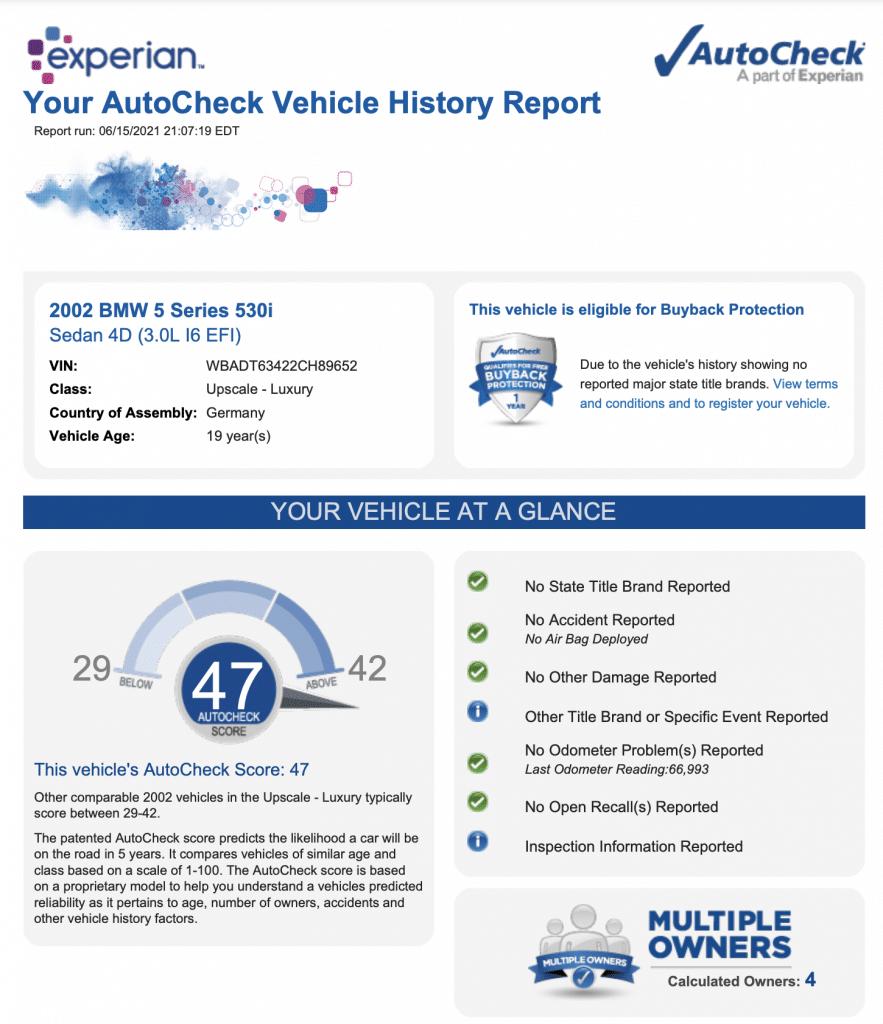 BMW 530i Autocheck
