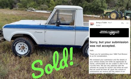 BaT Turn Away: 1966 Ford Bronco – SOLD AT $16,000!
